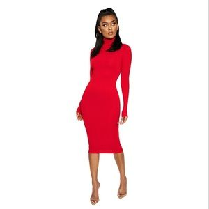 NWT naked wardrobe Red NW TURTLENECK MIDI DRESS
